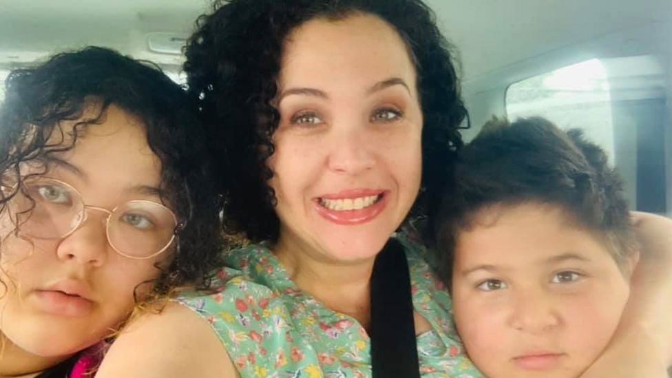 Natalie Raffenot with two of her children
