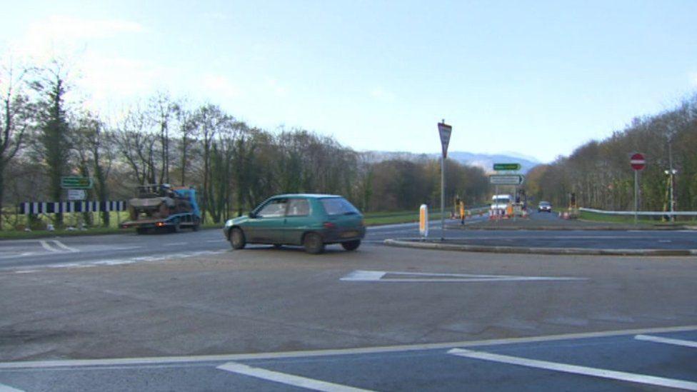 A470 junction in Dolgellau