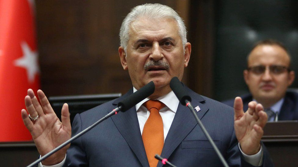 Turkish Prime Minister and leader of Turkey's ruling party, the Justice and Development Party (AK Party), Binali Yildirim speaks during AK Party's group meeting at the Grand National Assembly of Turkey (TBMM) in Ankara on October 18, 2016.