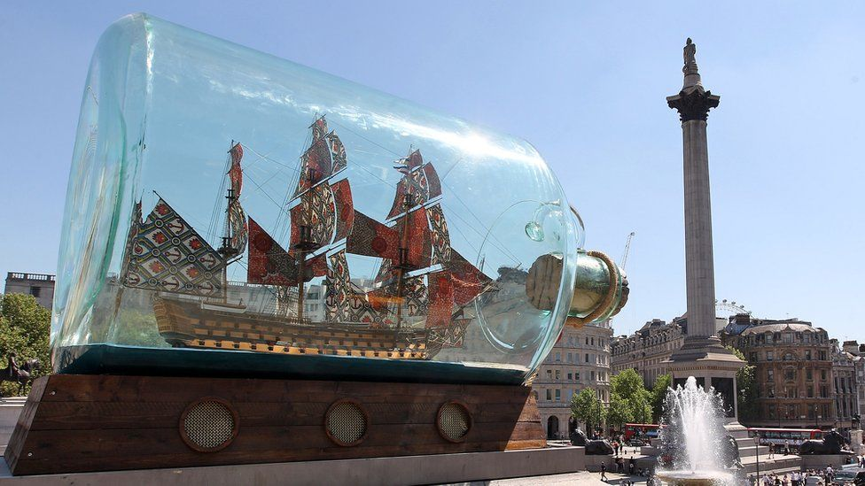 A sculpture by artist Yinka Shonibare, 'Nelson's ship in a bottle' is installed on the fourth plinth in Trafalgar Square on May 24, 2010
