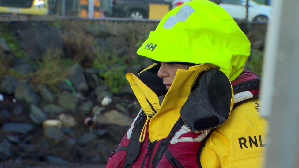 Catherine Lee on lifeboat