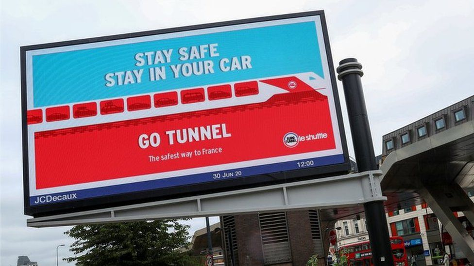 London billboard advertising the Eurotunnel