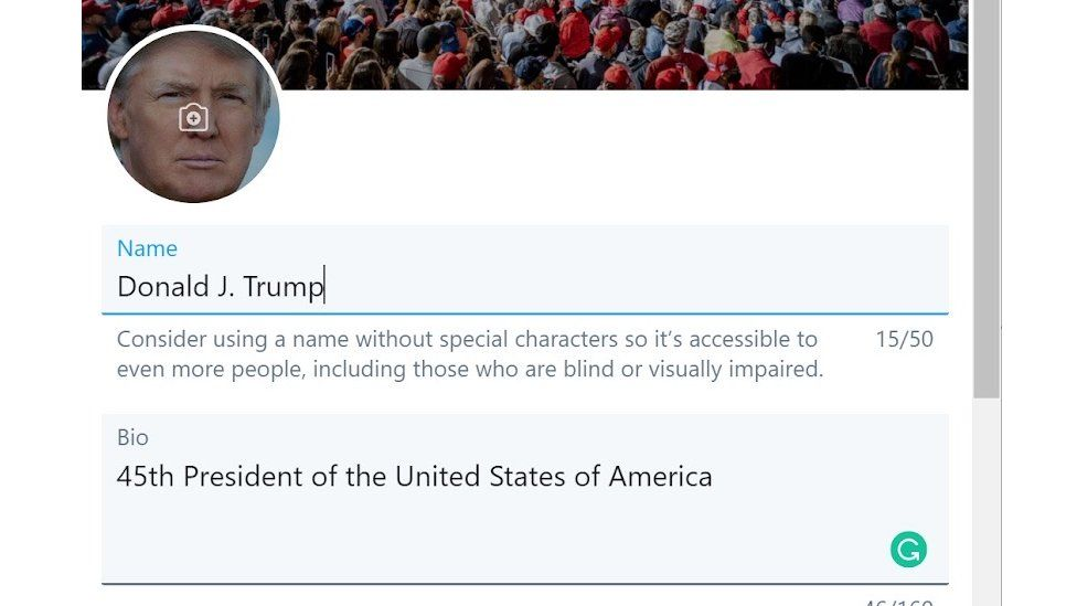 A screenshot of Donald Trump's Twitter account