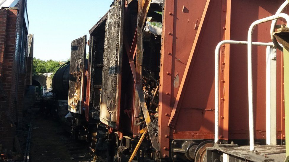The wagon and its contents at Middleton heritage railway was burnt out by arsonists