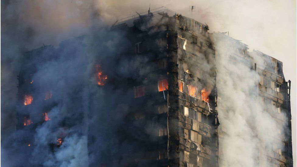 Smoke billows from Grenfell Tower as firefighters attempt to control a huge blaze on June 14, 2017 in west London