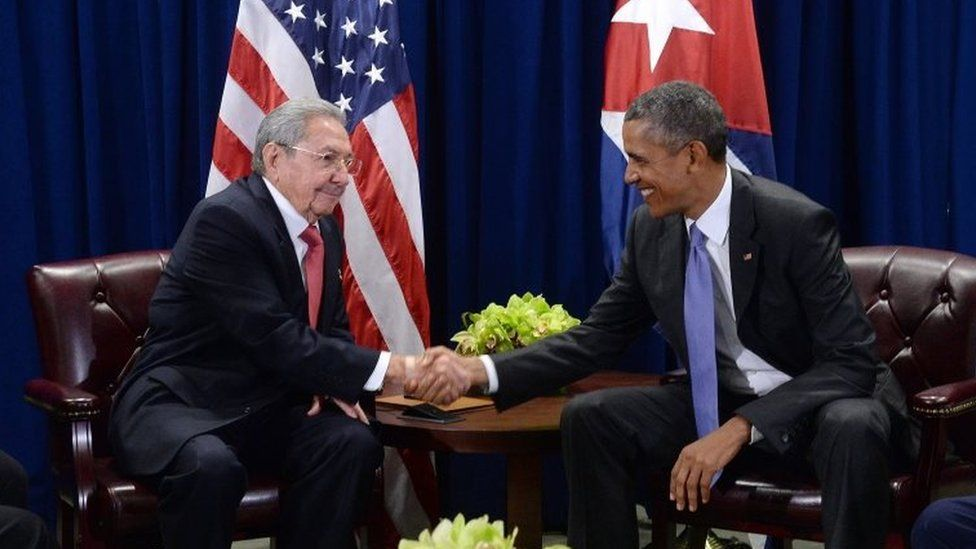 US President Barack Obama (right) and President Raul Castro (left) of Cuba shake hands during a bilateral meeting at the United Nations Headquarters on 29 September, 2015 in New York City