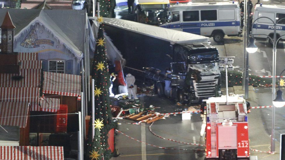 Site of lorry crash at Berlin Christmas market on 19 December 2016