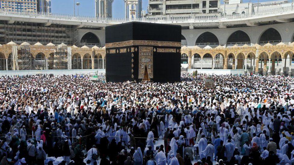 Muslim pilgrims walk around the Kaaba (Tawaf al-Wadaa), Islam's holiest shrine, at the Grand Mosque in Saudi Arabia's holy city of Mecca on February 27, 2020