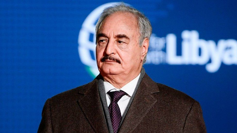 Khalifa Haftar at a conference in Italy in 2018