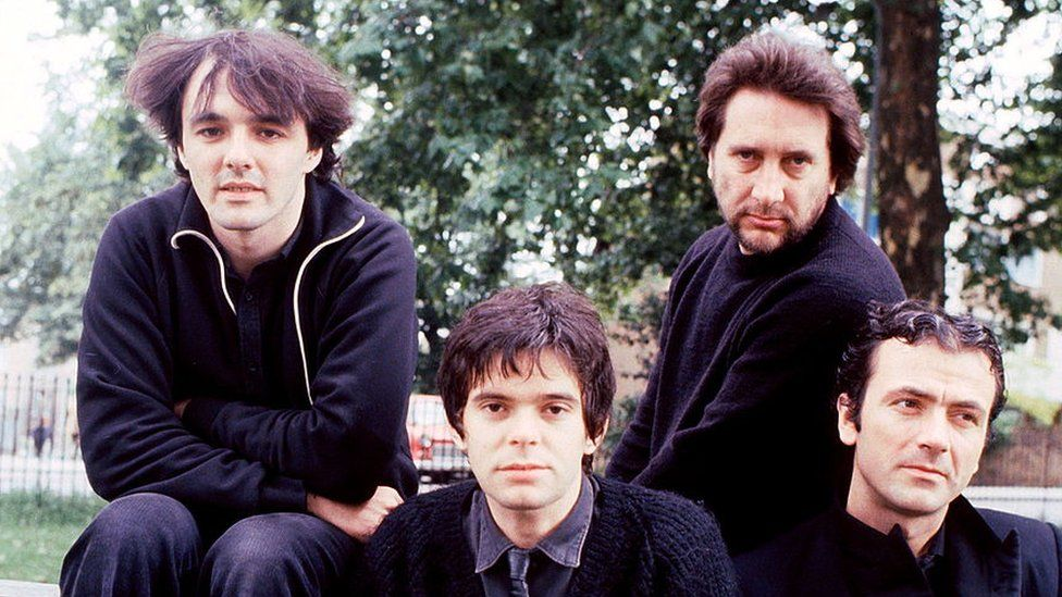 (Left to right) Dave Greenfield, Jean-Jacques Burnel, Jet Black and Hugh Cornwell of The Stranglers in 1980