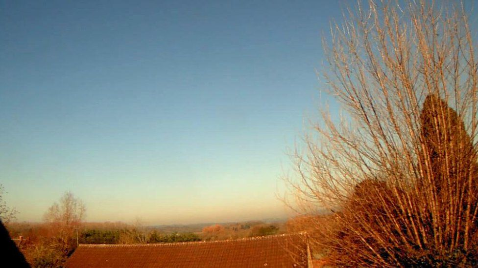 Picture taken from the weather cam in the village of Bishop Sutton in Somerset