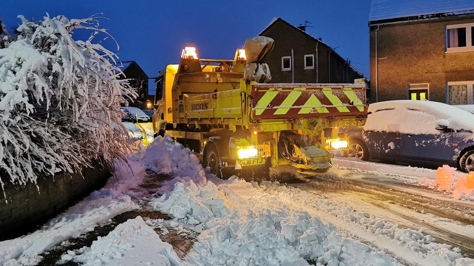 Snow plough in Macmerry, East Lothian