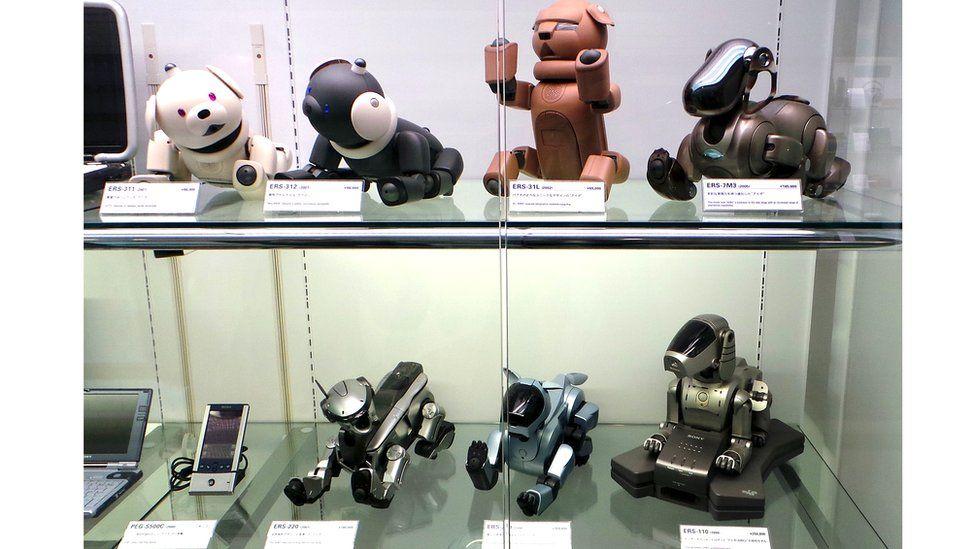 Prototypes of the Aibo robot dog