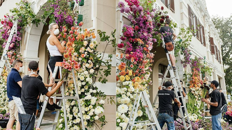 Florists decorating Huis Vergenoegd Old Age Home in Paarl, South Africa