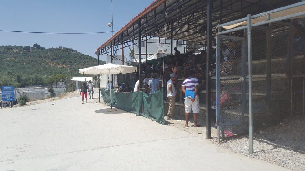 A shelter where people gather to shelter from the sun at Moria refugee camp
