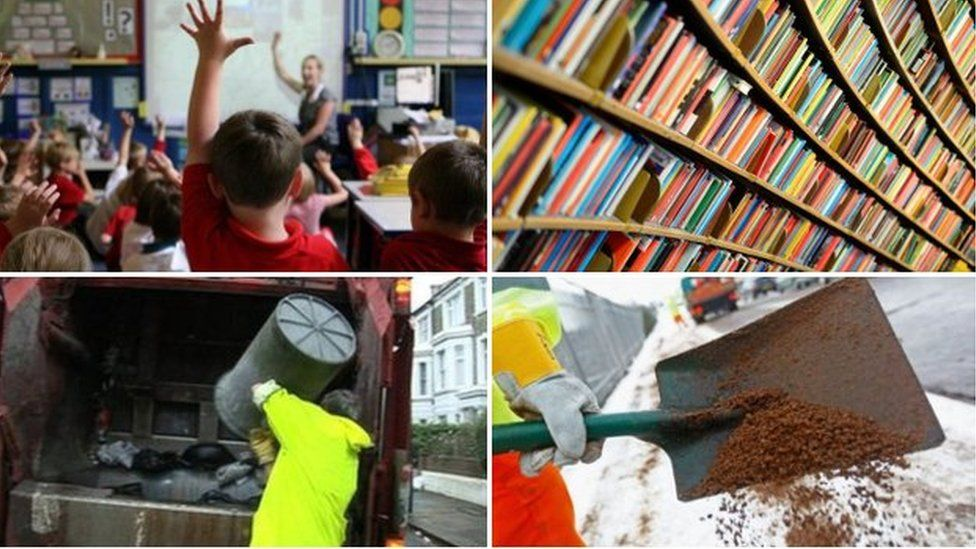 Council services: Refuse collection, library, classroom and gritting