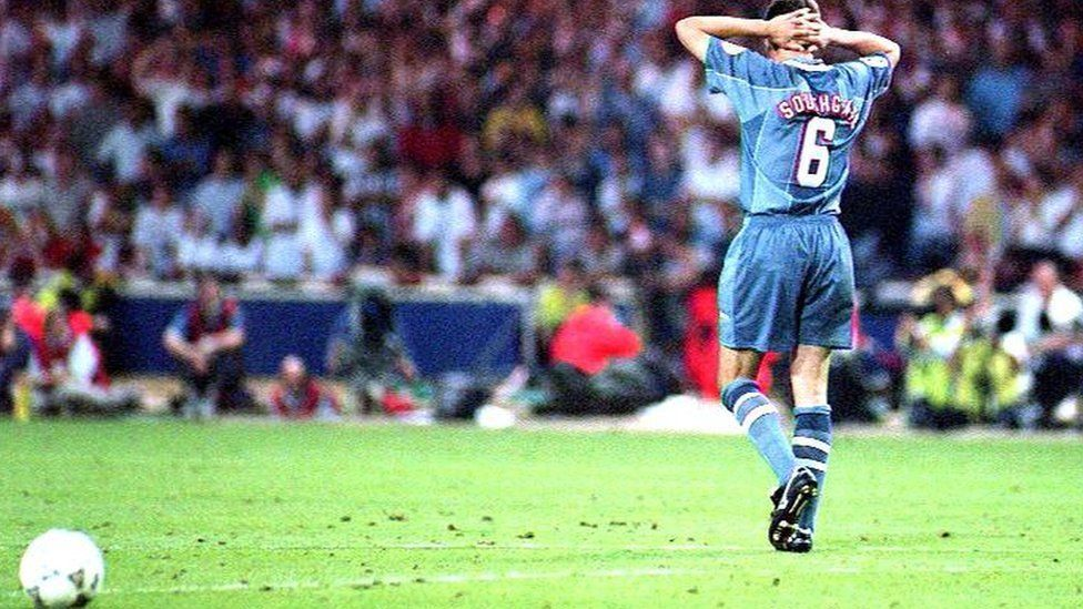 Gareth Southgate after his penalty miss for England in Euro 96