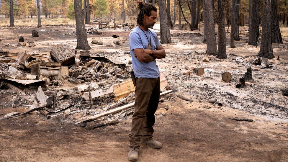 Sayyid Bey lost his his home to the Bootleg Fire near Beatty, Oregon, 19 July 2021