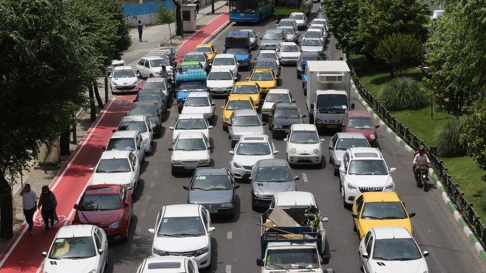 Heavy traffic in Tehran, Iran (2 June 2020)
