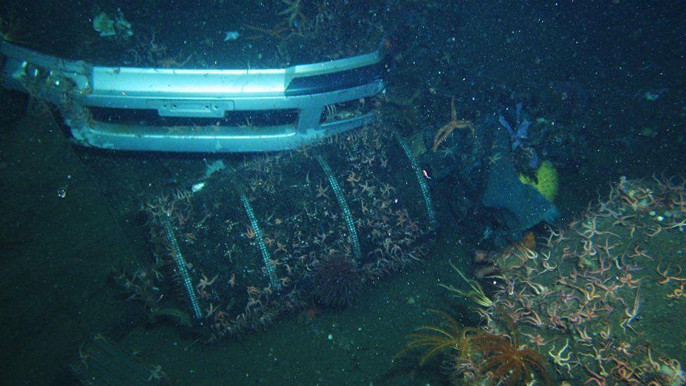 Marine debris: automobile bumper photographed at 546m on October 8, 2013