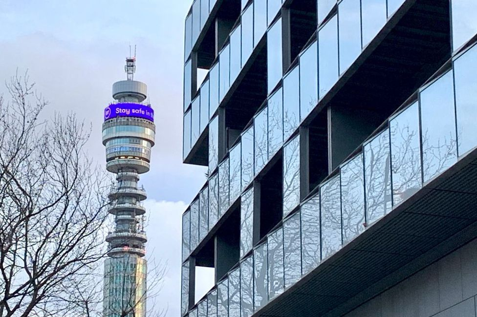 """The BT Tower displayed a message saying """"Stay Safe in these Unprecedented Times""""."""