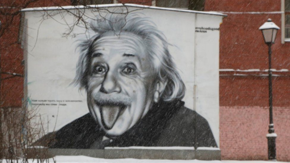 a mural of Albert Einstein sticking his tongue out in St Petersburg