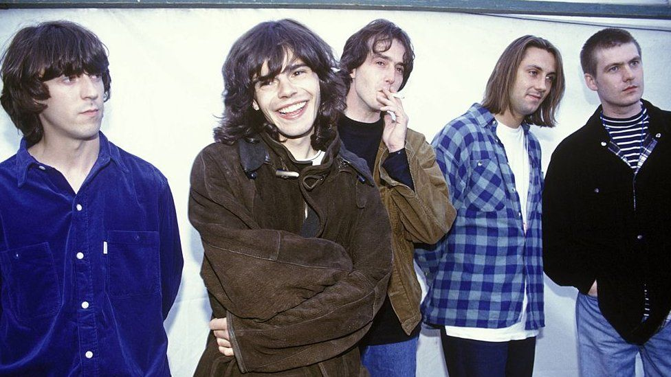(L-R) Mark Collins, Tim Burgess, Rob Collins, Jon Brookes and Martin Blunt of The Charlatans at Reading Festival in 1992