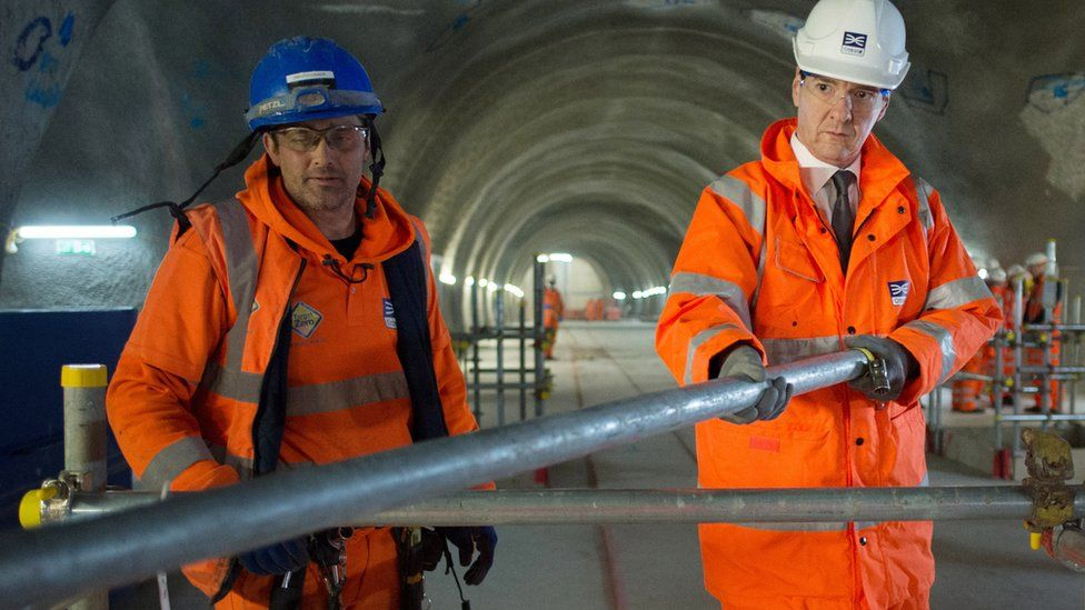 Chancellor George Osborne visits the Tottenham Court Road Crossrail station