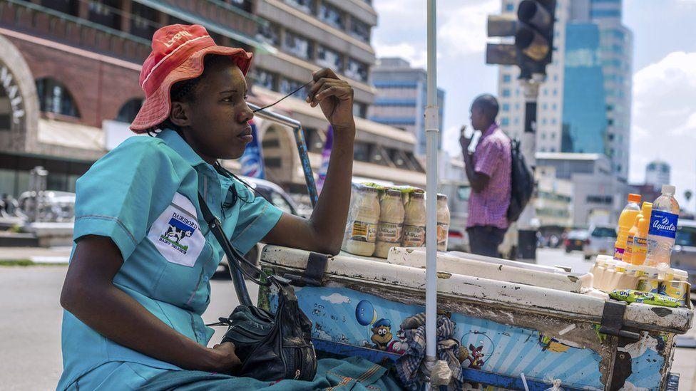An ice cream vendor in Harare