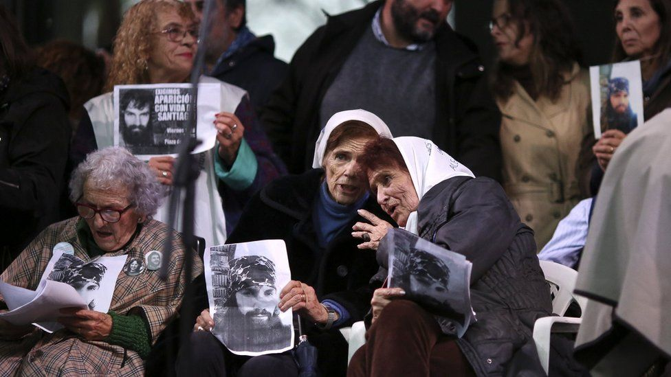 The Mothers of Plaza de Mayo group join the Santiago Maldonado protest in Buenos Aires on 11 Aug 2017
