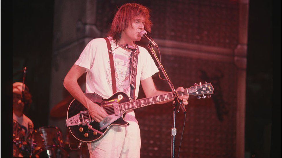 Neil Young at a concert in 1982