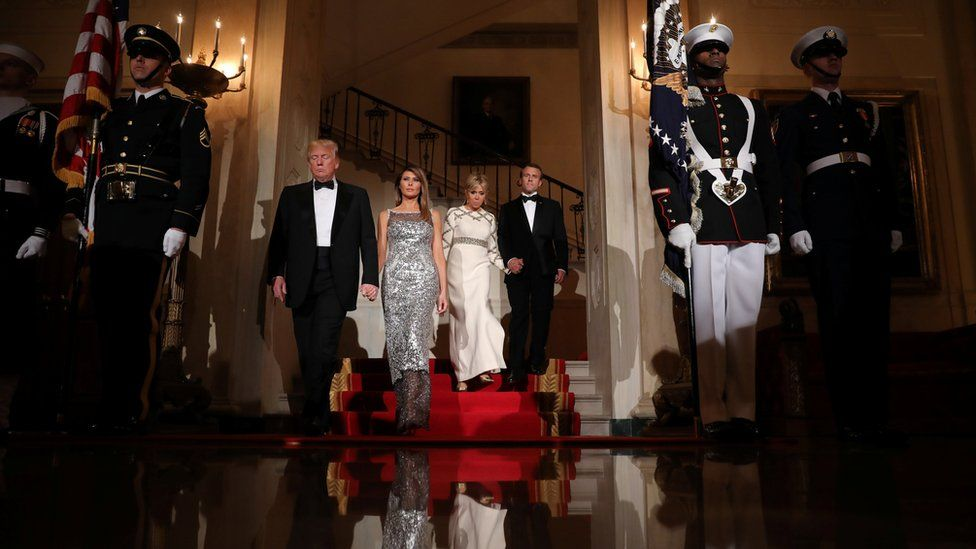 President Donald Trump, First Lady Melania Trump, French President Emmanuel Macron and his wife Brigitte attend a State Dinner at the White House in Washington, April 24, 2018