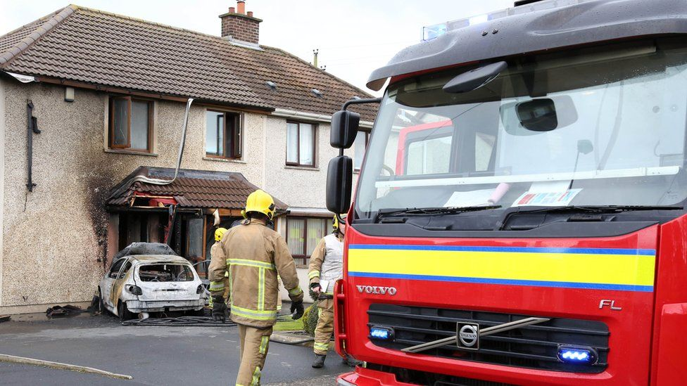 Firefighters were called to deal with the blaze in Larne on Sunday afternoon