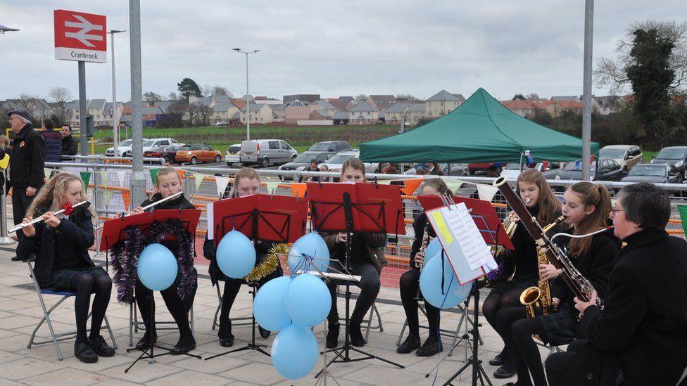 Maynard School band playing at the opening of Cranbrook station