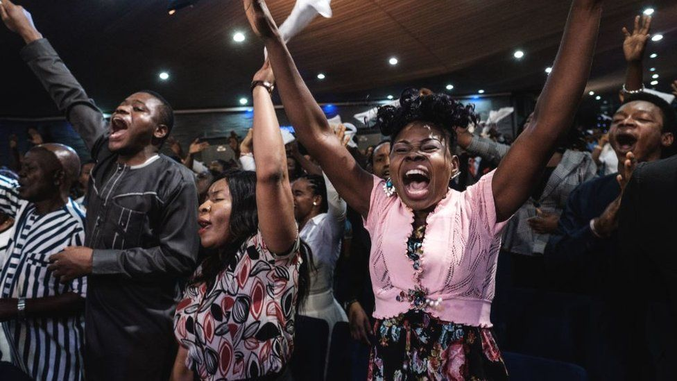 Worshippers of the Nigerian Pentecostal church Salvation Ministries attend the 5th Sunday service at their church headquarters in Port Harcourt, southern Nigeria, on February 24, 2019