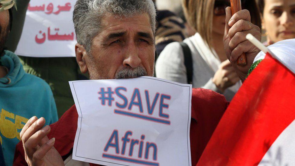 Iraqi Kurds protest against the Turkish assault on Afrin in the Kurdish-controlled Iraqi city of Irbil (23 January 2018)