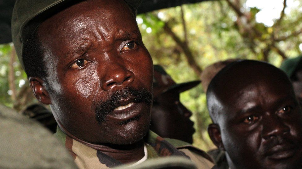 """A file photo taken on November 12, 2006, shows the leader of the Lord's Resistance Army (LRA), Joseph Kony, answering journalists"""" questions in Ri-Kwamba, southern Sudan"""