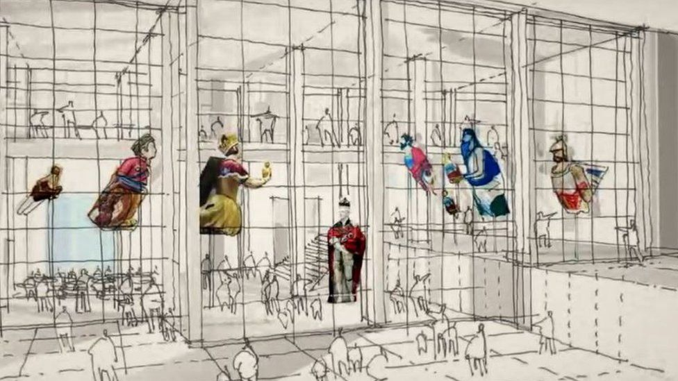 Artist's impression of figureheads on show at The Box