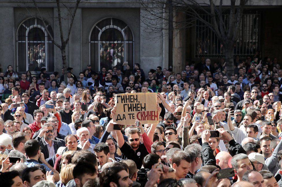 Protesters in Belgrade, Serbia. Photo: 17 March 2019
