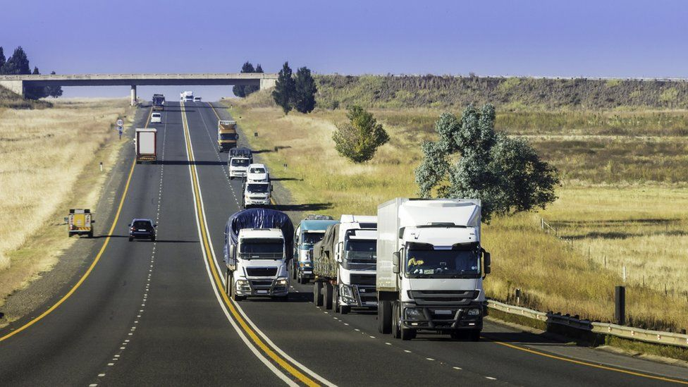 Trucks driving on a road in South Africa