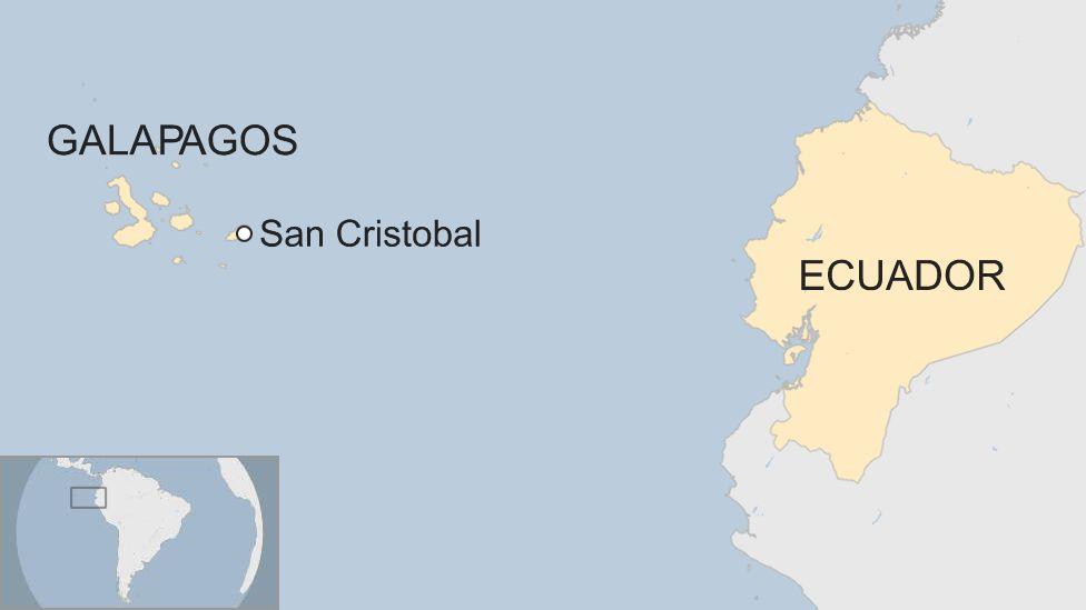 Map of San Cristobal in Galapagos in Ecuador