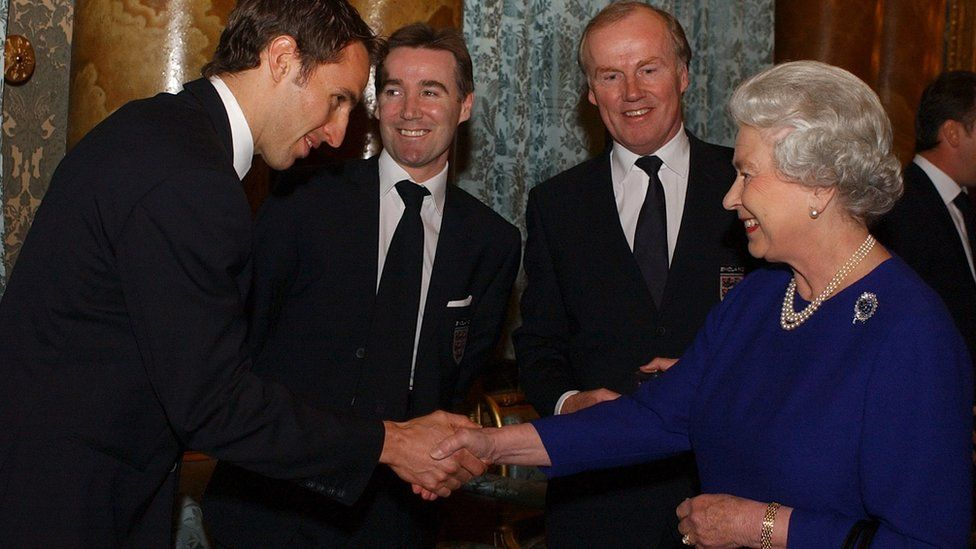 The Queen meets Gareth Southgate in 2002