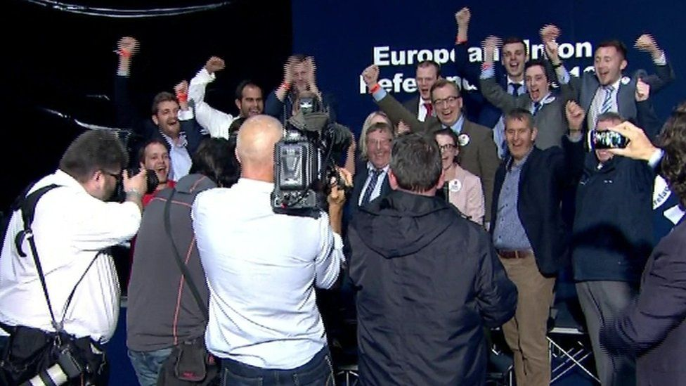 A cheer for the cameras: the NI Leave campaign celebrates