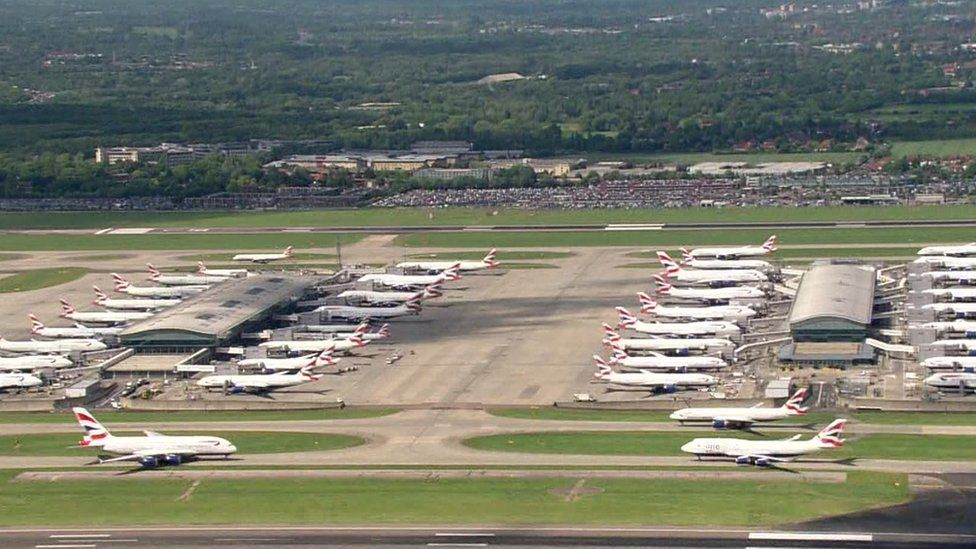 grounded planes at Heathrow