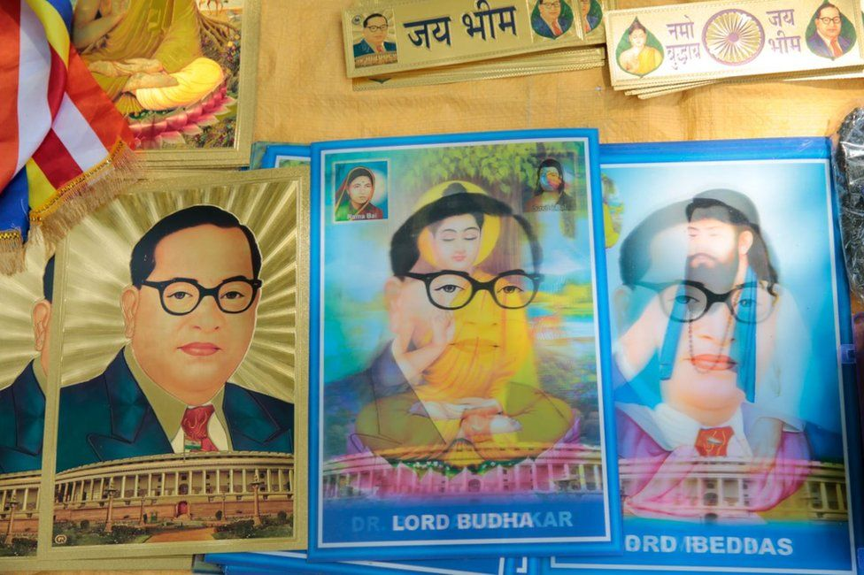 Merchandise on Dr BR Ambedkar being sold at the rally in Delhi.