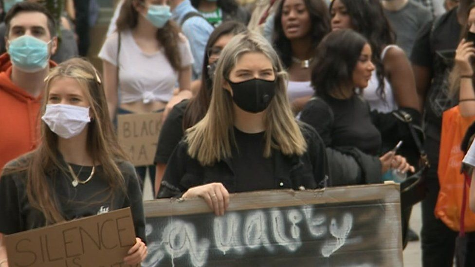 Black Lives Matter protesters in Newcastle