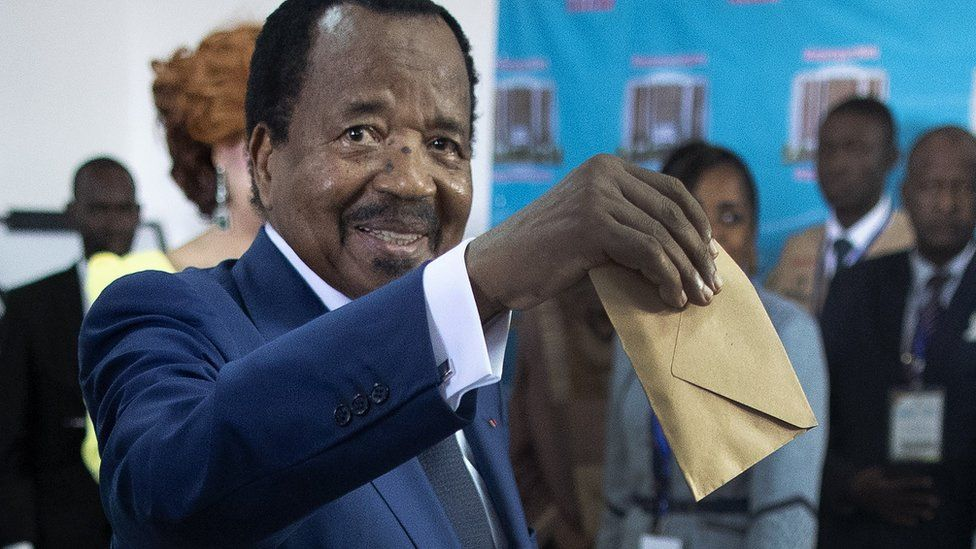 Cameroon President Paul Biya casts his ballot in the presidential elections at a polling station in the capital Yaounde, Cameroon, 07 October 2018