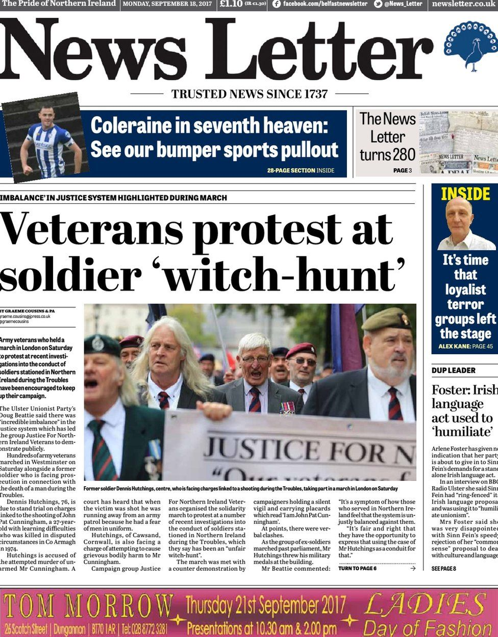 News Letter front page Monday 18 September