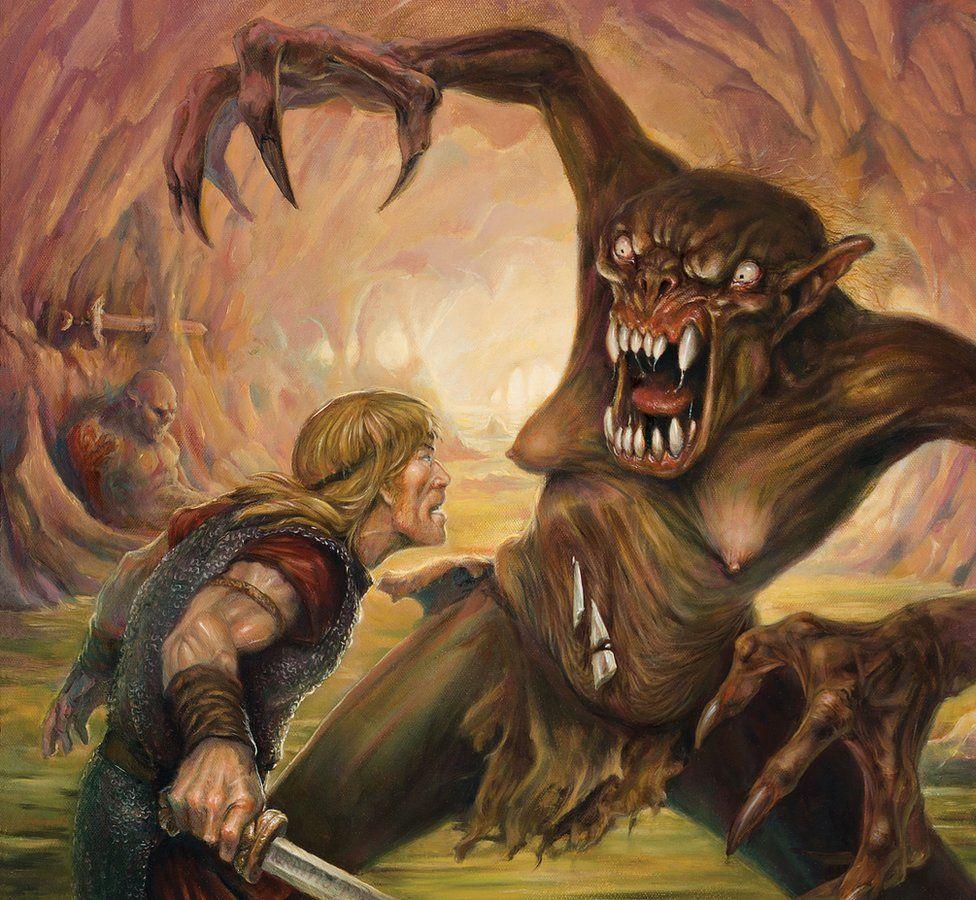 Britt Martin's illustration of Beowulf battling Grendel