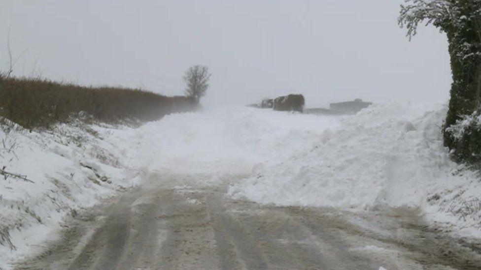 Snow across a road